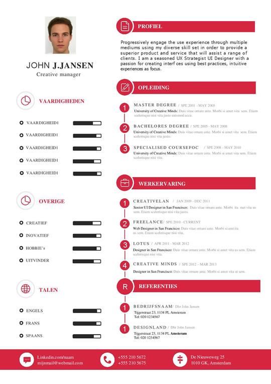 CV sjabloon met een nette indeling die er uitspringt.