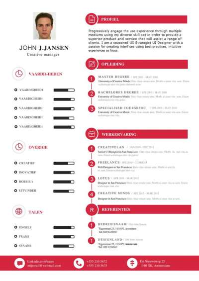 CV-sjabloon met passend sollicitatiebrief in het rood en wit