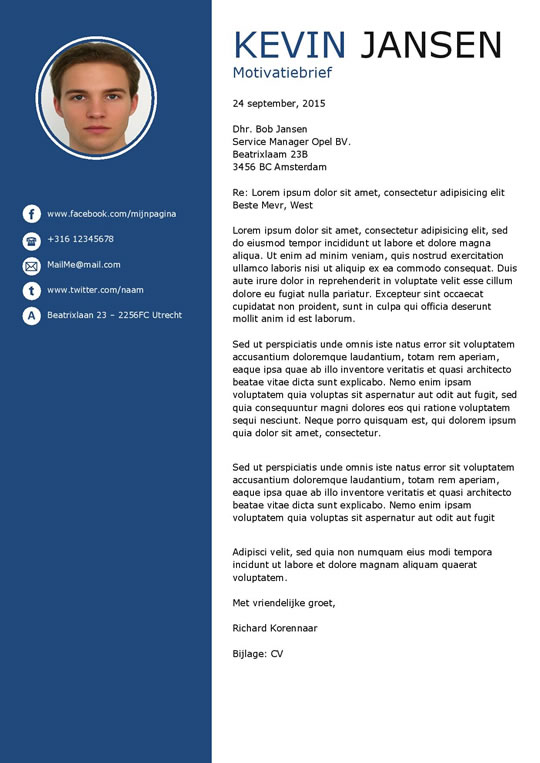 moderne motivatiebrief Een modern cv sjabloon en motivatiebrief in het wit en blauw