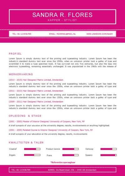 Gratis Download: simpel maar mooi cv template voor weinig ervaring