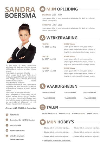 Gratis Download: cv format met motivatiebrief voor o.a. studenten