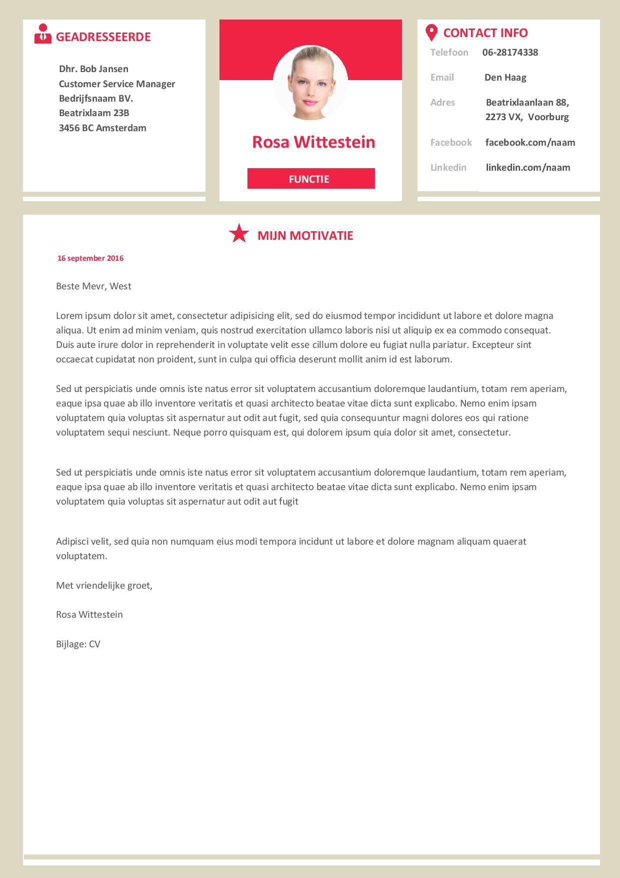 Brief Versenden Layout : Opvallend moderne cv inclusief motivatiebrief