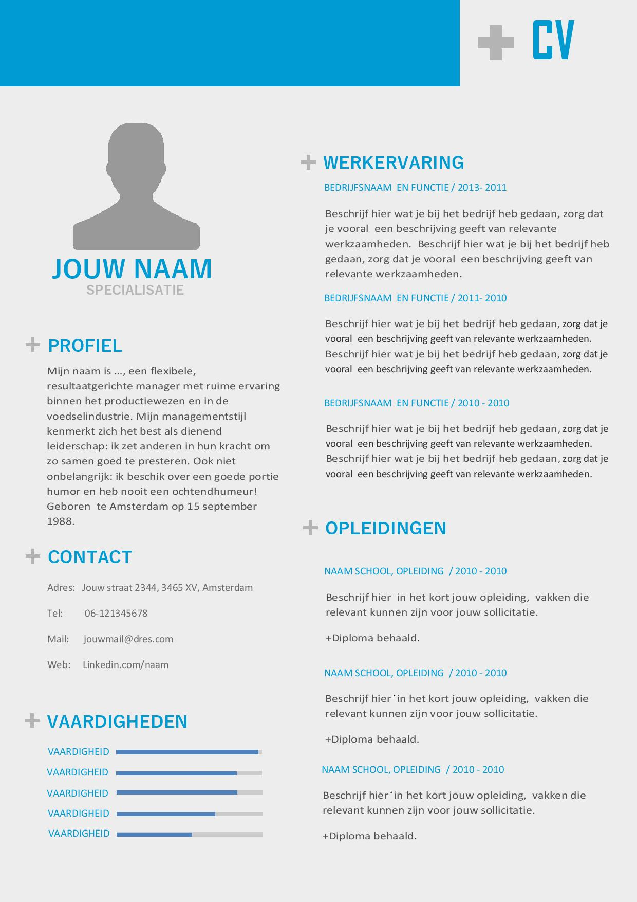 Multifuctionele CV inclusief portfolio pagina, ook ideaal voor een