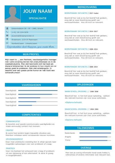 Design CV template Nederlands in Word format