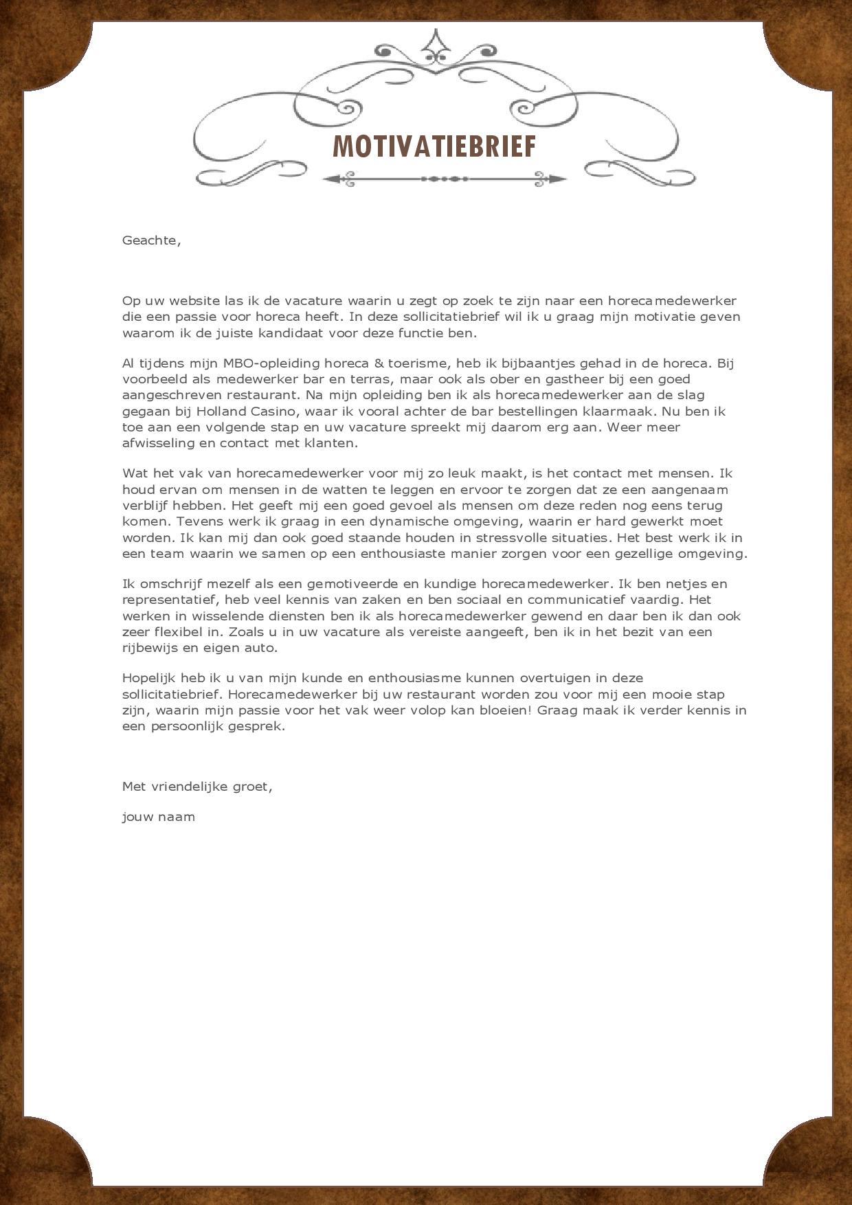 Val op met dit unieke horeca cv inclusief motivatiebrief