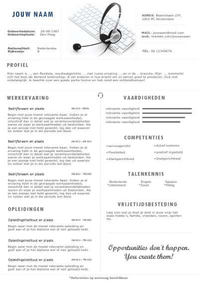Multifuctionele CV inclusief portfolio pagina, ook ideaal voor een zzp'ers