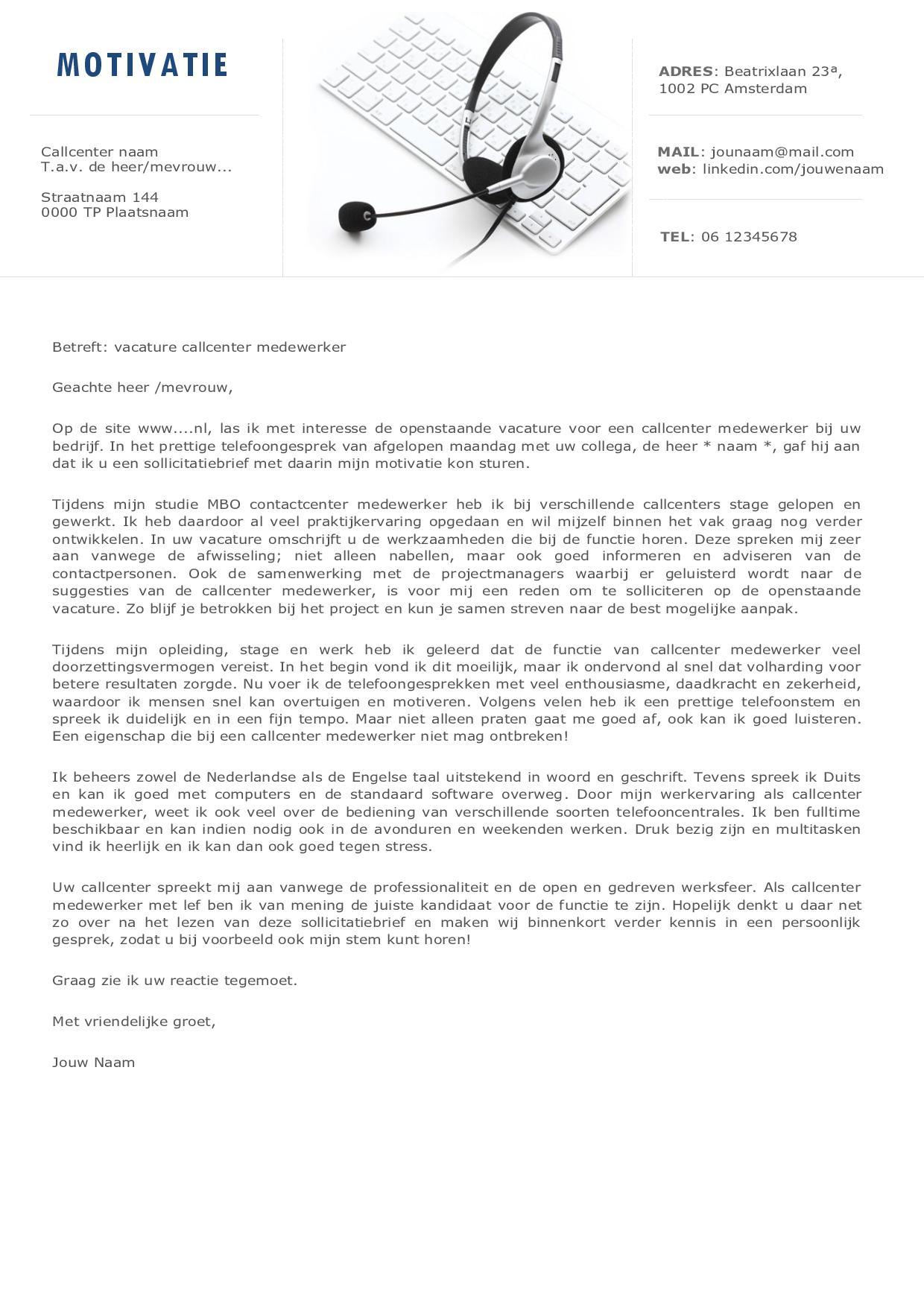 Het CV en sollicitatiebrief voor o.a callcenter medewerkers en