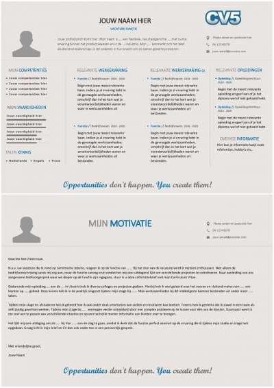 Maak een professionele indruk met dit unieke en horizontale CV-layout