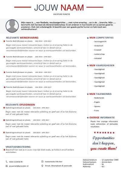 Maak een professionele indruk met dit curriculum vitae en sollicitatiebrief