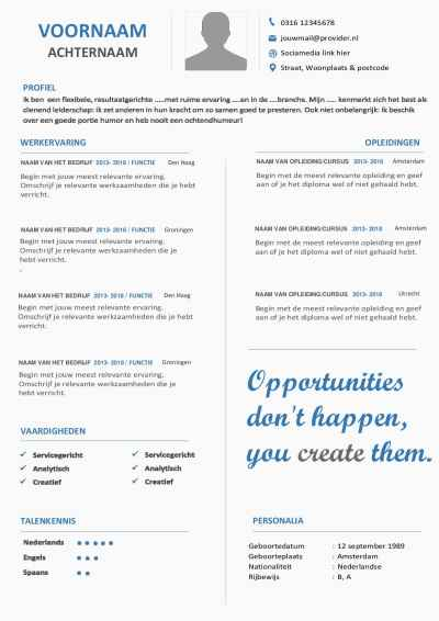 Laat zien wie jij bent en wat jij wilt uitstralen met dit CV-layout