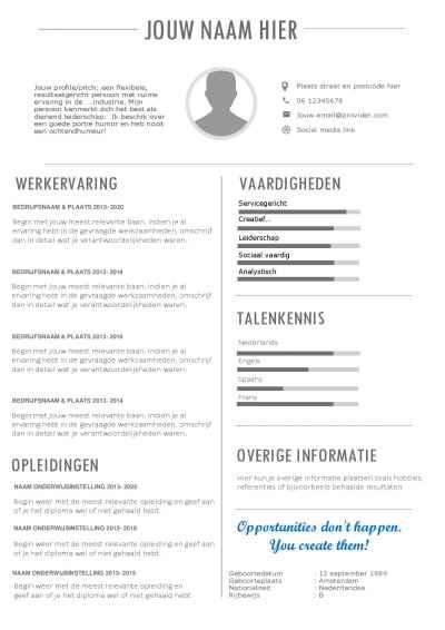 Een CV template waarmee je indruk maakt!