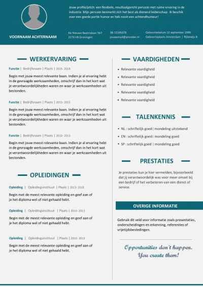 Een mooi CV template die indruk maakt op werkgevers!