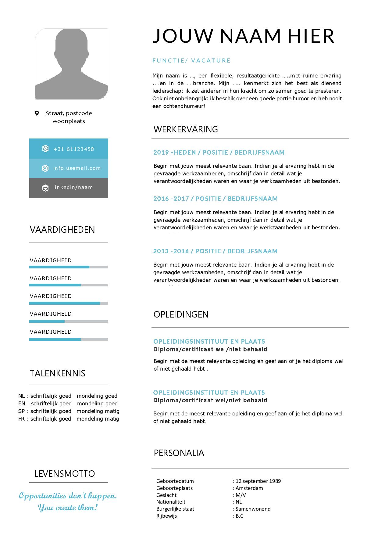 Wonderlijk CV template met passend sollicitatiebrief in Word LM-73
