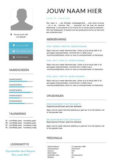 CV template met passend sollicitatiebrief in Word