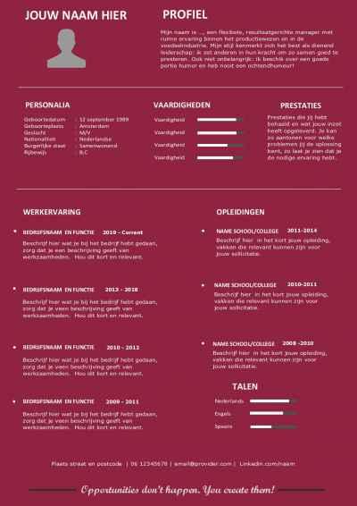 Modern Word cv template en motivatiebrief