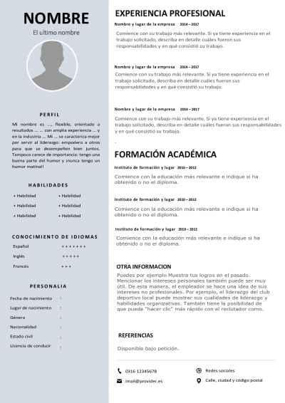 Voorbeeld Spaans - Portugees CV template