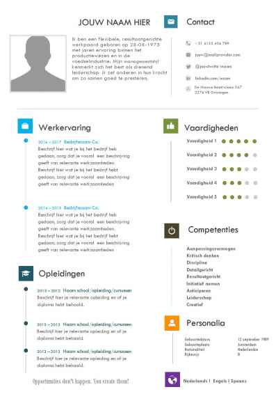 Design CV template Nederlands in Word format
