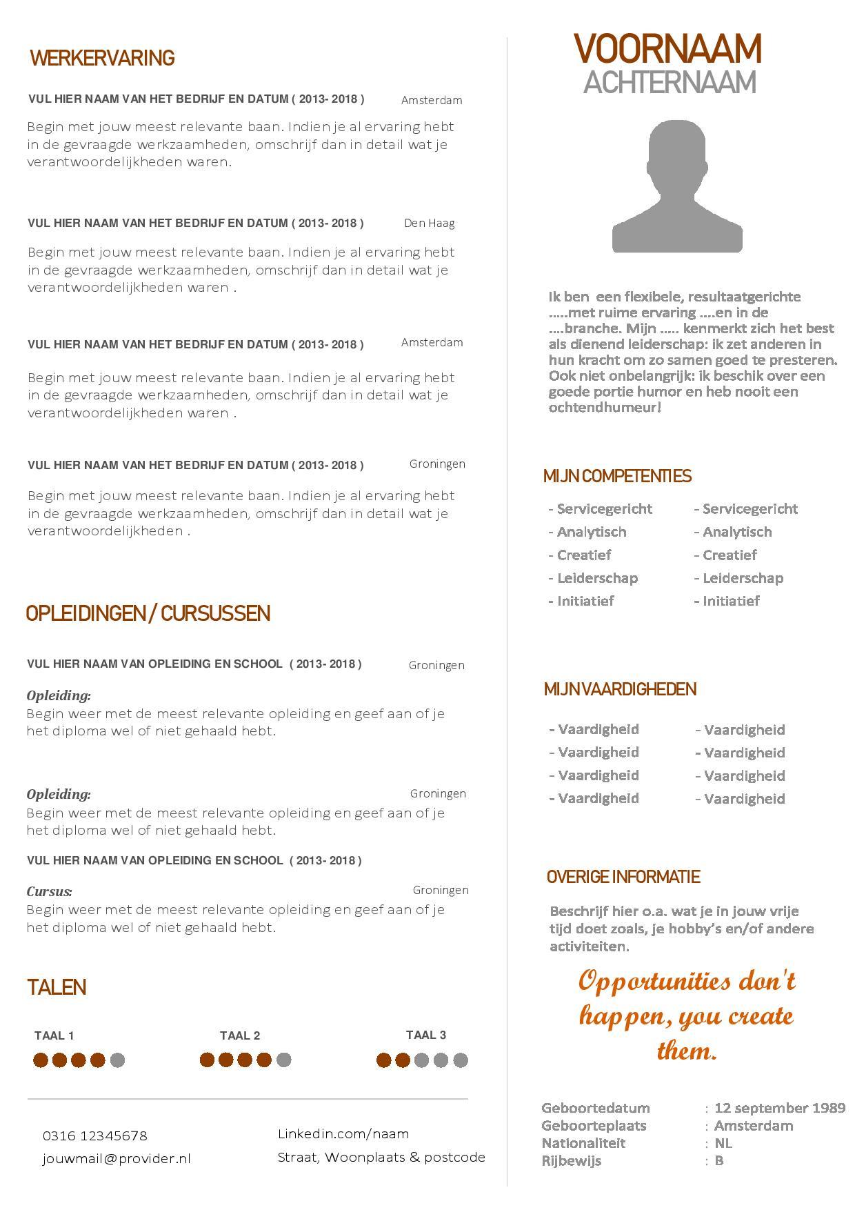 Verwonderlijk Modern Word cv template en motivatiebrief ZQ-25