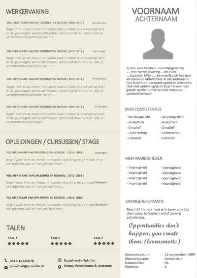 Cv template in retro klasieke stijl